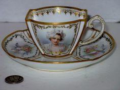 Antique Sevres Cup Sauce Chateau Des Tuileries Portrait w Cupid | eBay