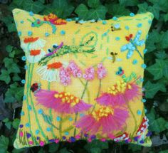 Mellow Meadow Freehand Embroidered Burlap Pillow by YelliKelli, $60.00