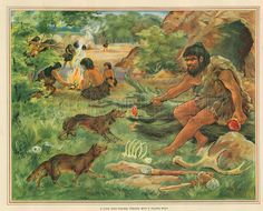 Here, we have a conceptual picture of a caveman village (group?). As you can see, the closest caveman is feeding some wild animals. This could either be to ward them off, or maybe it is a form of early taming. The other cavemen in the background appear to be gathering supplies for the village.