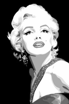 Marilyn Monroe, Black and White Art. Marilyn Monroe Drawing, Marilyn Monroe Painting, Marilyn Monroe Photos, Marylin Monroe, Caricatures, White Art, Black And White, Pop Art Girl, Outline Drawings