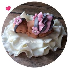 BABY SHOWER VINTAGE Pink and Grey Ruffle by BabyCakesByJennifer