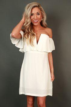 RHYTHM & RUFFLES OFF SHOULDER DRESS IN WHITE