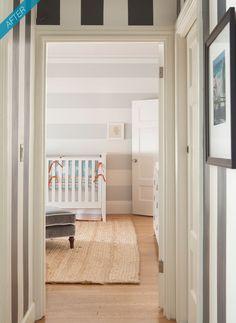 Aqua and Orange Baby Boy Nursery - Project Nursery Striped Nursery, Orange Nursery, Striped Walls, Nursery Stripes, Striped Hallway, Striped Room, White Nursery, Girl Nursery, Bebe Love