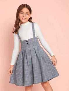 Girls Button Front Pleated Plaid Pinafore Dress – Best for Kids Frocks For Girls, Dresses Kids Girl, Cute Girl Outfits, Girls Frock Design, Baby Dress Design, Baby Frocks Designs, Kids Frocks Design, Girls Fashion Clothes, Kids Fashion