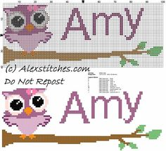 Baby cross stitch name Amy with owl free download