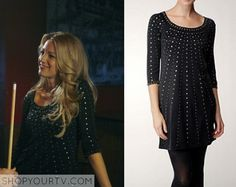 Serena van der Woodsen (s01e05) wears this black studded dress in this episode of Gossip Girl. It is the Catherine Malandrino Nailhead Bead Dress. Sold Out.