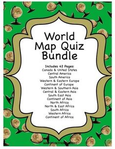 Middle School and High School World Geography Map Quizzes with maps, answer sheets, and teacher's key.