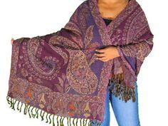 "Purple Beaded Wool Shawl Wrap - Kashmir Paisley Fashion Ladies Scarf 80"""