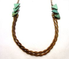 {Mesh Rope Necklace} love the bits of triangle turquoise!