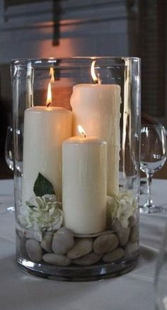 Diy Home Decor large hurricane vase with candles rocks and gardenias - centerpiece - bjl.Diy Home Decor large hurricane vase with candles rocks and gardenias - centerpiece - bjl Candle Arrangements, Floral Arrangements, Hurricane Vase, Hurricane Party, Garden Candles, Diy Home Decor, Room Decor, Wall Decor, Room Art