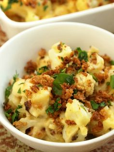 "Cauliflower ""Mac"" and Cheese  A pasta-free healthier recipe of "" Mac and Cheese"