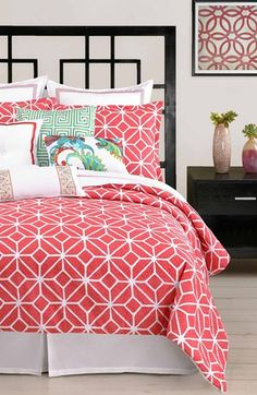 pretty patterned #coral bedding  http://rstyle.me/n/f4njupdpe