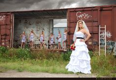 bride bridesmaids train tracks Chicago