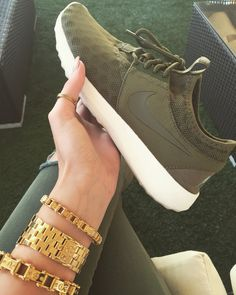 Olive Khaki Nike Juvenate with IceLink gold stack