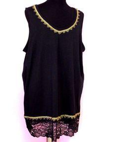 #Plus #3X #Long #Tank #Tunic #Top #Lace #Trim #Roamans #Fashion #Apparel #Shopping #eBay