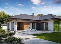 Arteo - zdjęcie 2 Modern Bungalow Exterior, Affordable House Plans, House Construction Plan, My House, Garage Doors, New Homes, How To Plan, Outdoor Decor, Case