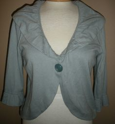 Ann Taylor Loft Womens Blue Ruffled Trim Cardigan 3/4 Sleeve Sweater Sz M #AnnTaylorLOFT #OneButtonCardigan