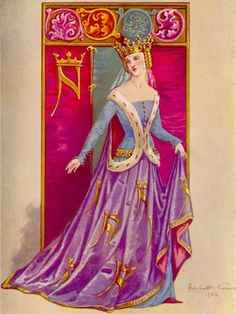 The sideless surcoat was often made of fine fabric that was embellished with embroidery work or trim.  The armholes were often trimmed with beading or fur, in this case, ermine. http://ivanaj.blogspot.com/2009/01/women-in-medieval-times.html