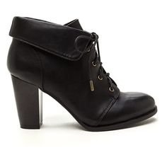 BLACK Fold Move Faux Leather Lace-Up Booties (32 CAD) ❤ liked on Polyvore featuring shoes, boots, ankle booties, ankle boots, black, black boots, black lace up boots, high heel booties and faux suede lace-up booties