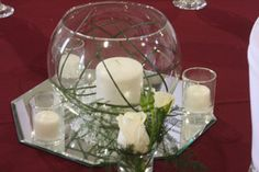 reception centerpiece with candle