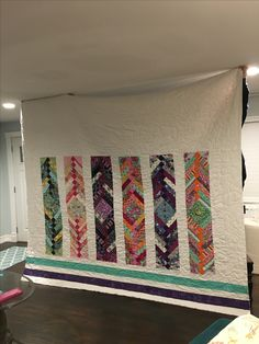 My #tulapink fabric has finally been used. I decided to make a braid quilt out it for my bed. Decided to go the easy way since the top gets folded over and left it plain.  #quilt