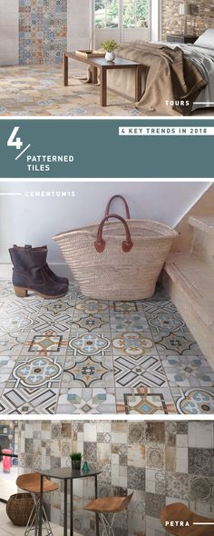 Interior Design 2018 Trend: Patterned Tiles #cementtiles #tiles #pattern 2018 Interior Design Trends, Tile Patterns, Fixer Upper, Tiles, Bathroom, Home Decor, Bath, Room Tiles, Washroom