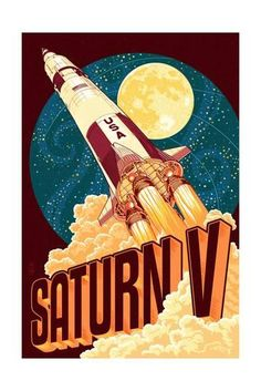 Saturn V Styalized - Lantern Press Artwork Giclee Art Print, Gallery Framed, White Wood), Multi Retro Poster, Outdoor Stickers, Fanart, Modern Photography, To Infinity And Beyond, Retro Futurism, Metal Signs, Travel Posters, Framed Art
