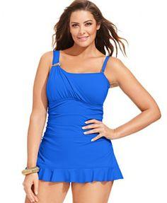 c58b39b598e Becca ETC Plus Size One-Shoulder Ruffle One-Piece Swimdress - Plus Size  Swimwear