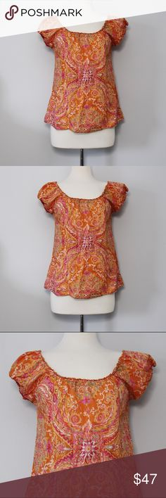 """J. Crew Orange Print Blouse Bust: approx. 18.25"""" (laying flat) Length: 23.5"""" (shoulder to hem)  A cute and summery top that's in great, like new condition! Cap sleeves with elastic and elastic ruffle neckline / No holes, stains or imperfections. Comes from a smoke free environment.  Bundles welcome Offers welcome through offer button. ❌NO trades, please. ⚡️Same/Next day shipping J. Crew Tops"""