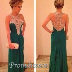2015 elegant deep green sexy lace chiffon high neck long prom dress, ball gown, evening dress, winter formal, cute+dresses+for+teens #promdress