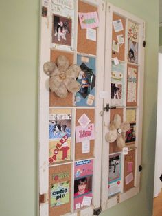 Cork added to window frames used to create a spectacular bulletin board