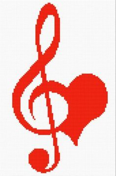 Clef full of feeling (music, note, small note, heart)