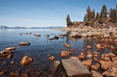 The rocky shoreline of Lake Tahoe  Stock Photo