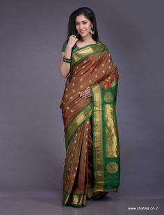 The enchanting peacocks on the pallu, the dainty gold flowers on the saree and a bewitching color combination, this Paithani saree is waiting to be yours as much as you want to make it yours! Paithani silk uses the ancient technique of tapestry where multiple threads of different colours along with gold and silver threads are weaved together to form a fascinating piece of silk.