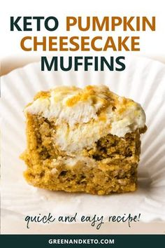 Try these keto cheesecake pumpkin muffins. They are scented with warm fall spices and filled with delicious pumpkin flavor and cream cheese. Plus, they're made with almond flour and coconut flour — so you know they're low-carb and gluten-free. Pumpkin Cheesecake Muffins, Pumpkin Cream Cheese Muffins, Pumpkin Cream Cheeses, Keto Cheesecake, Apple Muffins, Keto Blueberry Muffins, Sugar Free Cheesecake, Blueberry Bread, Cheesecake Cupcakes