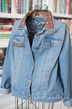 DIY BEADED DENIM JACKET<BR>Anthropologie-Inspired