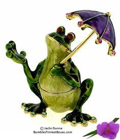 Trinket Box: Frog With Umbrella