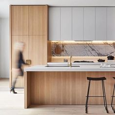 An elegant integration of materials designed by the team at @dko_architecture #kitchendesign #kitcheninspo via Mancini Made