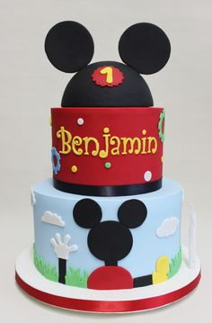 Second Birthday Cakes, Mickey Mouse Birthday Cake, Mickey Mouse Cupcakes, Second Birthday Ideas, Mickey Cakes, First Birthday Party Themes, Mickey Party, Mickey Mouse Clubhouse Cake, Minnie Y Mickey Mouse