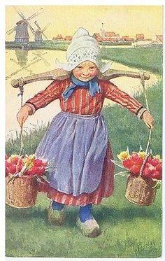 FEIERTAG POSTCARD 1920s - GIRL CARRYING FLOWERS - B.K.W.I. N- 158-1