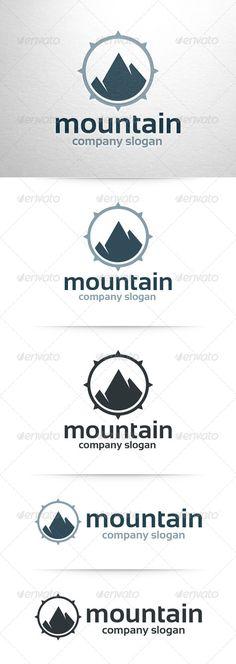 Mountain Logo Template: Nature Green Logo Design Template by LiveAtTheBBQ. Brochure Template, Logo Templates, Design Templates, Mining Logo, River Logo, Compass Logo, Church Logo, Mountain Logos, Ecommerce Logo