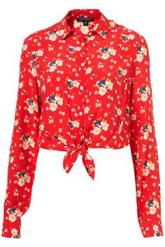 Topshop red floral shirt