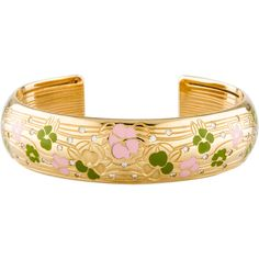 Escada Diamond and Enamel Flower Cuff (8,340 CAD) ❤ liked on Polyvore featuring jewelry, bracelets, gold, enamel cuff bracelet, pink bangles, hinged cuff bracelet, cuff jewelry and diamond bangle