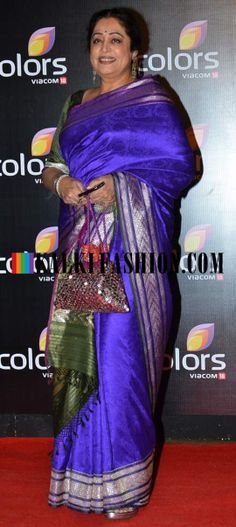 http://www.kalkifashion.com/ Kirron Kher was seen in blue silk saree with green pallav at Colors T.V party