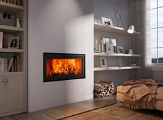 What to look for to find the fireplace that's right for you Living Room Remodel, Living Room Decor, Electric Fires, Fireplace Wall, Fireplace Ideas, Living Room Inspiration, Villeneuve, Design, Home Decor