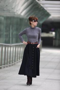 Graceful Black Big Sweep Long Maxi Woolen Skirt  - NC216. $79.99, via Etsy.