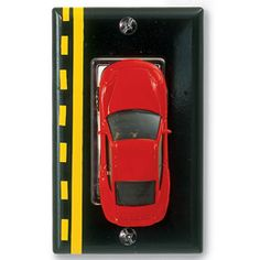 Race Car Switch Plate.  Use a rocker type light switch, attach a car.