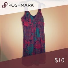 Sundress Light and easy to wear. Fun pattern. Empire waist. Burnt orange/teal/brown pattern. Apt. 9 Dresses Mini