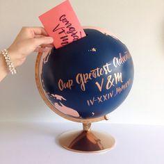 Umschlag Stimmzettel Geldgeschenk Box individuelles Angebot + Farbe Hand gemalt + gelettert Guestbook Globus Reisen