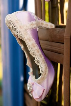 Pink lace and crystal wedding shoes